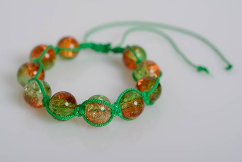 Handmade bracelet made of plastic beads on waxed cord braided green accessory - MADEheart.com