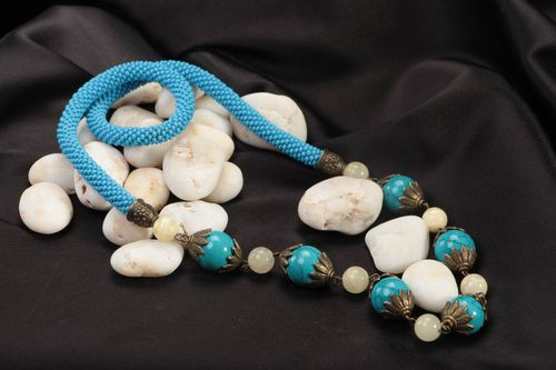 Handmade beaded necklace jewelry made of natural stones blue stylish accessory - MADEheart.com