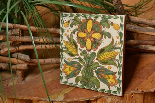 Handmade designer ceramic facing panel with green and yellow floral ornament  - MADEheart.com