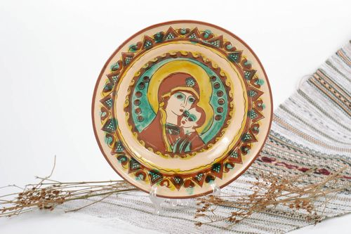 Beautiful handmade ceramic plate with painting Mother of God and little Jesus - MADEheart.com