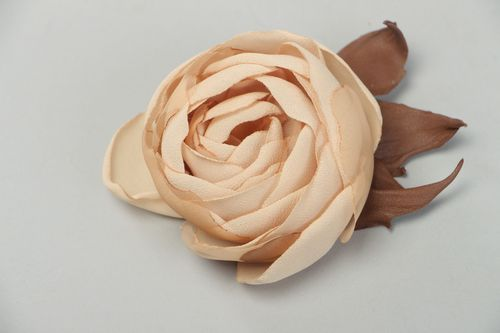 Large beautiful beige brooch hand made of genuine leather and chiffon Rose - MADEheart.com