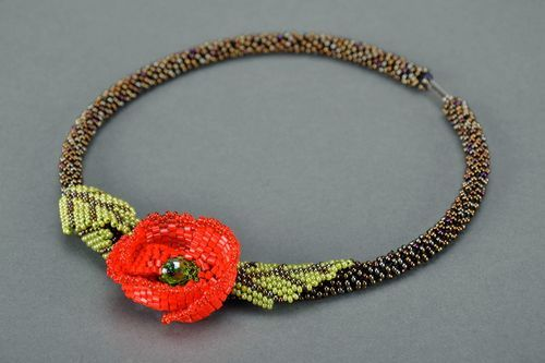 Beaded necklace Poppy seed - MADEheart.com