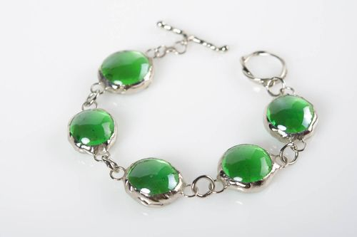 Handmade bracelet made of glass and metal made using stained glass technique - MADEheart.com