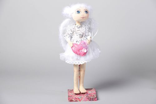 Fabric soft doll on stand for decoration of childs room - MADEheart.com