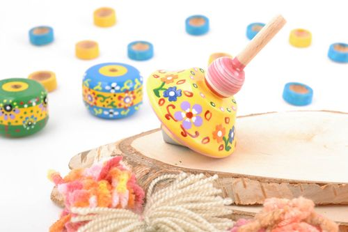 Bright small handmade painted wooden spin top smart toy for children - MADEheart.com