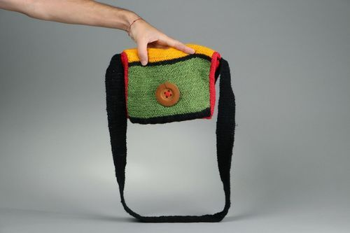 Wool knitted purse with button - MADEheart.com
