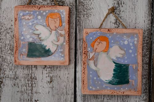 Set of 2 ceramic wall panels with angels - MADEheart.com