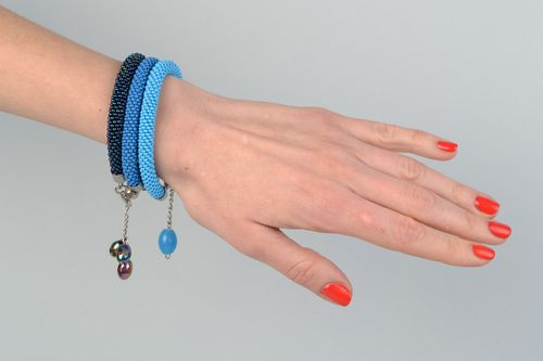 Set of 3 handmade beaded cord wrist bracelets in blue color shades for women - MADEheart.com