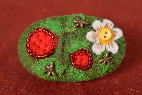 Unusual handmade textile brooch felt brooch jewelry accessories for girls - MADEheart.com