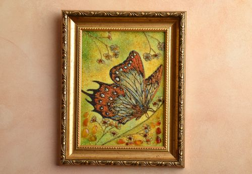 Amber decorated picture Butterfly - MADEheart.com