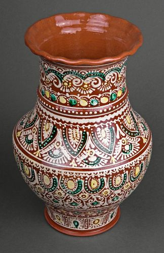 Large decorative exclusive glazed painted centerpiece vase 13 inches, 5,5 lb - MADEheart.com