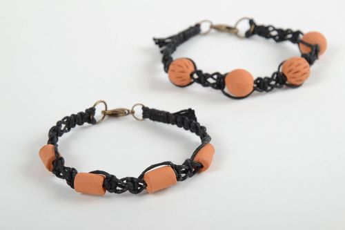 Set of 2 handmade ceramic bracelets accessories for girls woven bracelets - MADEheart.com