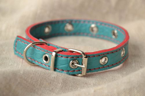 Beautiful artificial leather dog collar - MADEheart.com