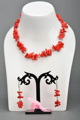 Set of handmade designer jewelry with red coral 2 items necklace and earrings - MADEheart.com