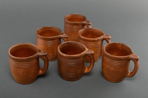 Set of ceramic cups kilned with milk 6 items 450 ml - MADEheart.com