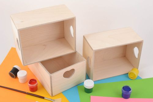 Set of 3 handmade plywood craft blank boxes with hearts for creative work - MADEheart.com