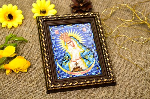 Handmade orthodox icon beautiful embroidered icon designer home amulet - MADEheart.com
