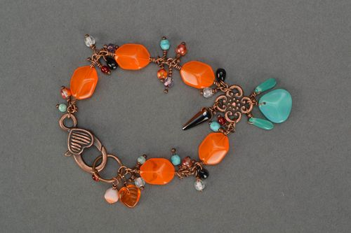 Handmade Czech glass bracelet female beautiful summer accessory for girls - MADEheart.com