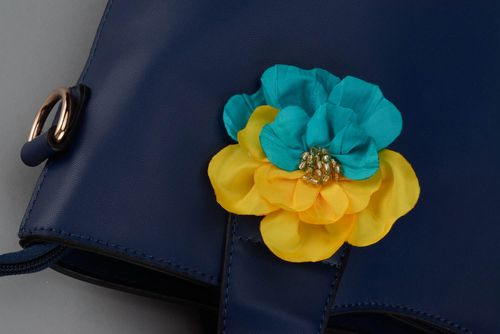 Brooch hairpin in yellow and blue color - MADEheart.com