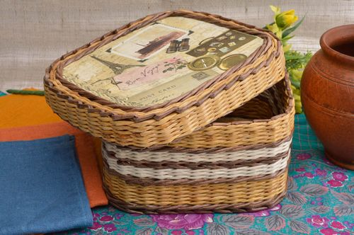 Handmade wicker basket unusual paper basket interior decor ideas handmade box - MADEheart.com