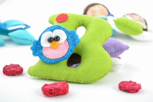 Beautiful handmade decorative felt soft letter B with toy owl for children - MADEheart.com