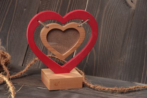 Handmade small designer painted heart shaped wooden photo frame on stand - MADEheart.com