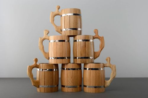 Wooden beer mug set - MADEheart.com