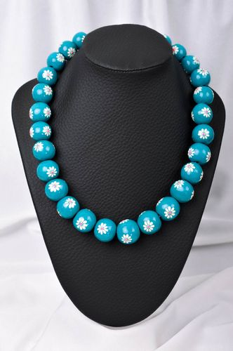 Handmade blue necklace stylish cute jewelry unusual designer accessories - MADEheart.com