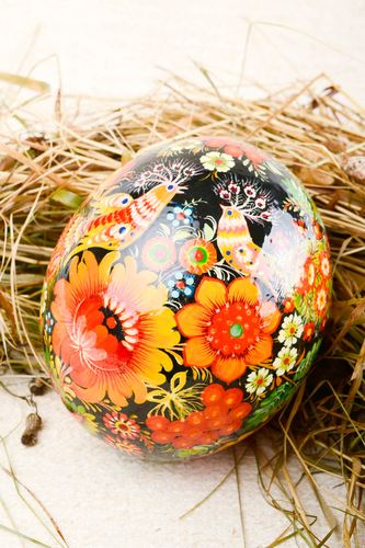 Handmade Easter decor element stylish ostrich painted egg decorative use only - MADEheart.com