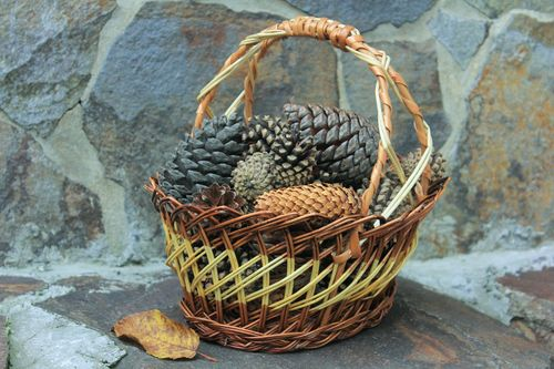 Wicker basket with handle - MADEheart.com