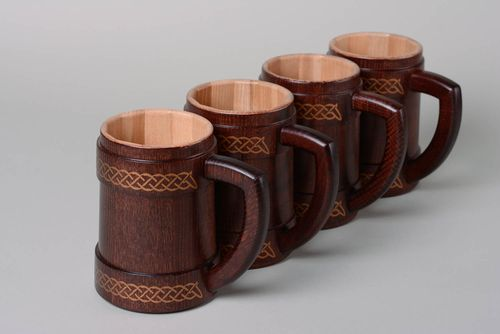 Handmade decorative varnished carved wooden beer mugs 4 items - MADEheart.com
