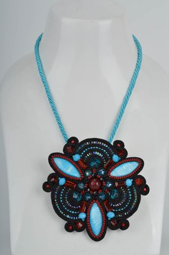 Bright massive handmade evening blue soutache brooch with beads - MADEheart.com