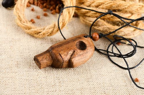 Unusual handmade wooden pendant neck pendant wood craft costume jewelry - MADEheart.com