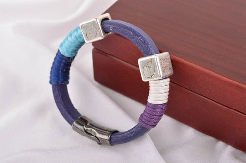 Beautiful handmade leather bracelet with charms fashion trends gifts for her - MADEheart.com
