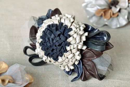 Blue Brooch Made of Leather - MADEheart.com