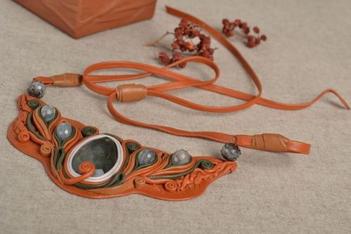 Handmade leather necklace unusual orange accessory stylish designer necklace - MADEheart.com