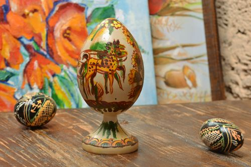 Handmade decorative wooden egg on stand painted with oils Easter interior ideas - MADEheart.com