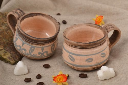Handmade set of coffee cups ceramic dishware coffe set for present kitchen decor - MADEheart.com