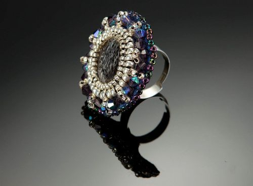 Ring with beads and pearl - MADEheart.com