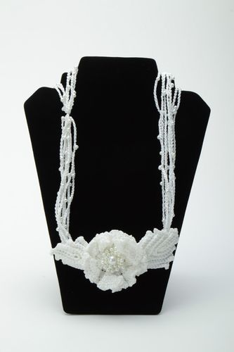 Handmade white crochet necklace with beads - MADEheart.com