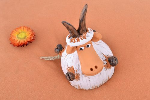 Handmade traditional painted ceramic bell coated with glaze in the shape of goat - MADEheart.com