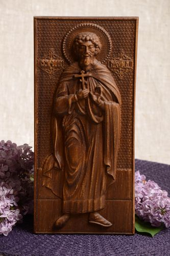 Handmade wooden St Leonid icon small rectangular panel handmade wall panel  - MADEheart.com