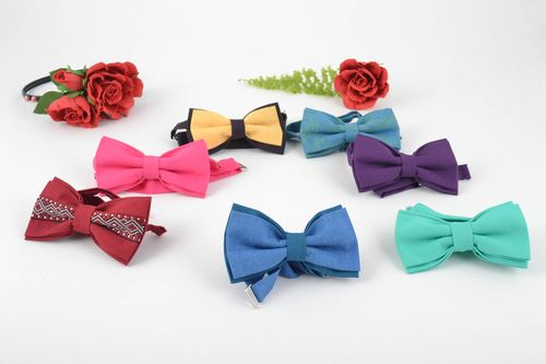 Set of 7 handmade designer bright cotton fabric bow ties unusual accessories - MADEheart.com