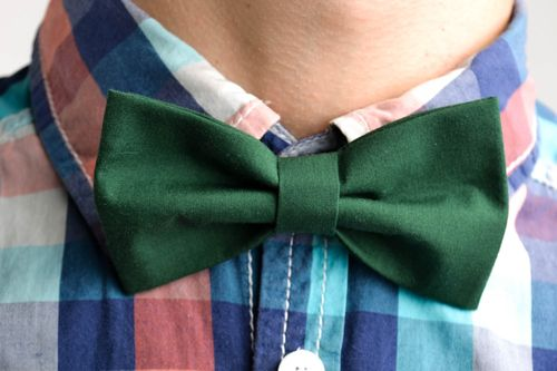 Handmade bow tie for men unusual green bow tie designer accessory gift - MADEheart.com
