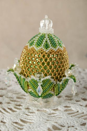 Handmade egg designer figurine unusual gift beaded egg interior decor  - MADEheart.com