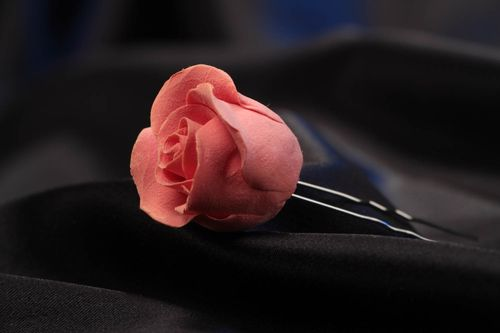 Handmade womens polymer clay flower hairpin designer hair accessories - MADEheart.com
