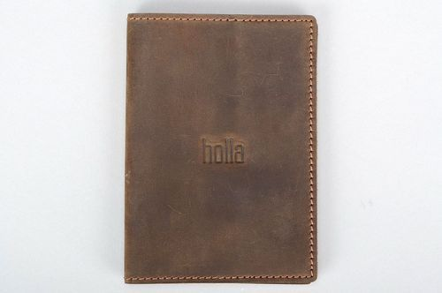Leather passport cover brown - MADEheart.com