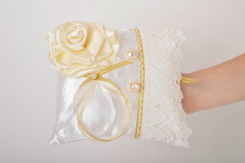 Handmade wedding accessory satin cute pillow for rings unusual wedding pillow - MADEheart.com