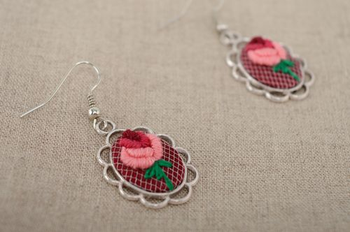 Vintage earrings with rococo embroidery - MADEheart.com