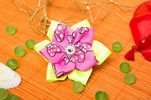 Bright handmade flower scrunchie childrens hair tie hair scrunchie ideas - MADEheart.com